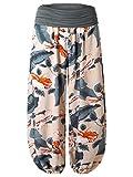 BaiShengGT - Femme Pantalon Bouffant Large Bande Imprime Taille Haute Stretch Abricot 2 Taille Unique