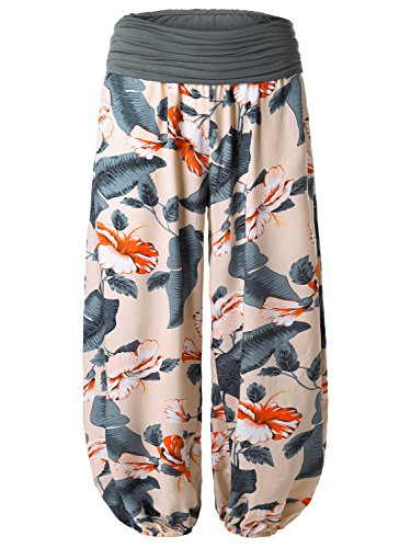BAISHENGGT Damen Pumphose Haremshose Blumenmuster Lange Hose Apricot-2 One Size