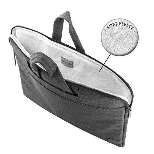 deleyCON Notebooktasche fr Notebook Laptop bis 156 396cm Tasche Hlle aus robuster Gewebter Baumwolle mit 3 Zubehrfchern verstrkte Polsterwnde Innen weiches Fleece grau Aktentaschen