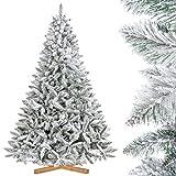 FairyTrees künstlicher Weihnachtsbaum FICHTE, Natur-Weiss mit Schneeflocken, Material PVC, inkl. Holzständer, 220cm, FT13-220