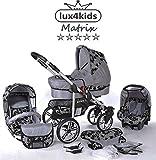 Chilly Kids Matrix II 3 en 1 Poussette combinée (siège auto inclus les adaptateurs, habillage pluie, moustiquaire, roues pivotantes 62 couleurs) 55 fleurs gris floqués