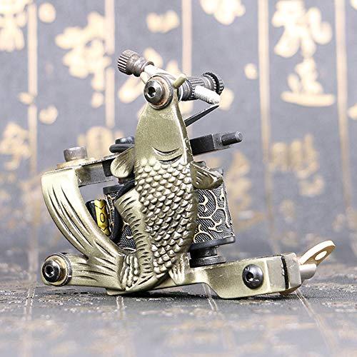 Pistola del tatuaggio di bobine di avvolgimento 10 wrap della macchina del tatuaggio del ghisa fatto a mano di stile della carpa di rwang (tm8717)