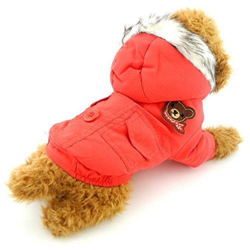 selmai dicker Kapuzenanorak mit Baumwollfutter warme Kapuzen Hundemantel Winter Schal Bär Patch, für kleine Hunde/Katzen (Kleidung, Die Loch-patch)