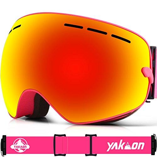 Skibrille für Damen und Herren von Yakaon Y1mit sphärischer Revo-Spiegelscheibe und rutschfestem Umhängegurt, mit Anlaufschutz, UV-Schutz, abnehmbarer Scheibe und Umhängeband, damen, Y1, Y1 Pink Frame Red Lens VLT 25.4%