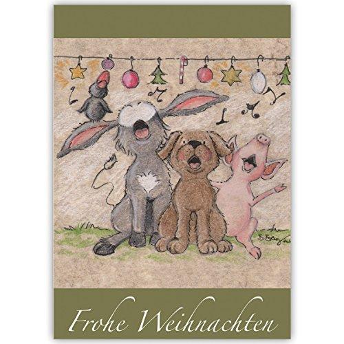 1er Weihnachtskarten Set Fröhliche Weihnachtsgrüße mit Tier Weihnachts Chor, innen weiß auch als Firmen Weihnachtsgruß, Neujahrskarte für Kunden: Frohe Weihnachten (0-chor)
