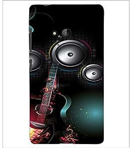 PrintDhaba Guitar D-4106 Back Case Cover for MICROSOFT LUMIA 540 (Multi-Coloured)