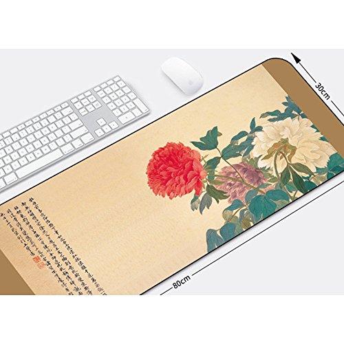 Haofengjing Mauspad Chinesische Malerei Blume Muster Mauspad Tischset Große Größe Verbesserte Präzision Und Geschwindigkeit Gummi 300X700X2Mm