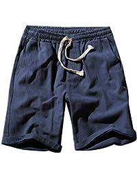 ee11888eea Guiran Hombre Pantalones Cortos De Playa Deportivos Chinos Shorts De Lino  Bermudas Armada L