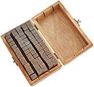مجموعة طوابع مطاطية خشبية 70 قطعة، ختم حروف الأبجدية ورمز عتيق مع صندوق خشبي، لكتاب القصاصات اليدوية، وصنع الب