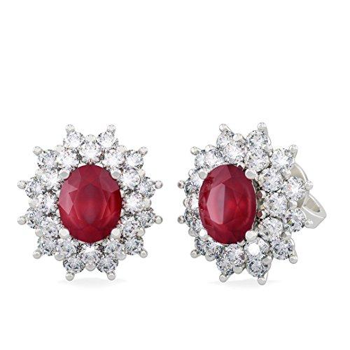 Orecchini ANITA in oro bianco 18kt e palladio con diamanti e rubino