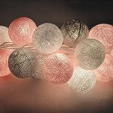 Qulista Guirlande Lumineuse LED Éclairage Décorative Ambiance Chaleureuse Style Nordique 3M 20 Boules Coton [Classe d'efficacité énergétique A +] (USB)