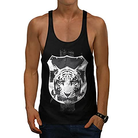 Tiger Big Cat Face Wild Shield Men Black M Gym Tank Top | Wellcoda