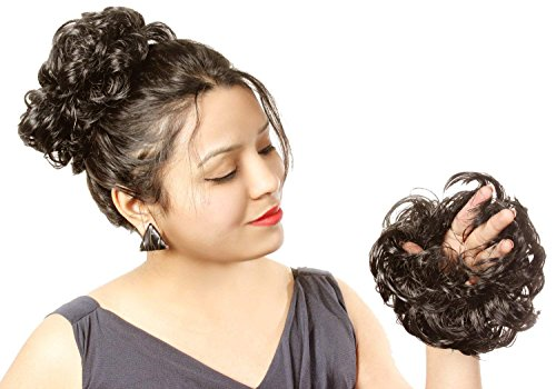 Ritzkart Women Curly Hair Bride Bun Natural (RubberBun,Black)