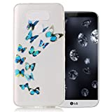 Aeeque LG G6 Case, Beautiful Blue Butterfly Pattern and Ultra Slim Thin Soft Crystal Clear Rubber Flexible Bumper [Anti-scratch] Back Protection Covers for LG G6 H870 5.7 inch