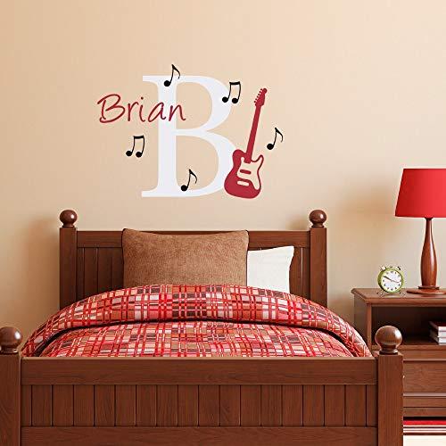 jiuyaomai Musikalische Serie Kunst Mode Wandaufkleber Benutzerdefinierte Personalisierte Kinder Name Mit Gitarre Wandtattoos Vinyl Wandbild 45x62 cm (Gitarre Modi Für)