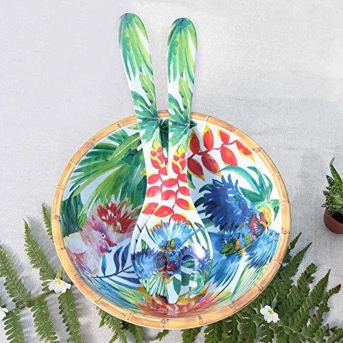 Les jardins de la comtesse - insalatiera grande fonda - bordo in bambù - 25 cm - uccelli tropicali - blu e verde - servizi da tavola della collezione di stoviglie infrangibili melartmine