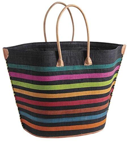 Schultertasche Freizeittasche Strandtasche Raffiabast / Griff aus Leder / Innentasche mit Reißverschluss