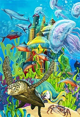 BuEnn 3x5ft Märchen Unterwasserwelt Hintergrund Fotografie Baby Dusche Kinder Kinder Geburtstagsparty Wasserquallen Schildkröte Meeresboden Wunderland Foto Hintergrund
