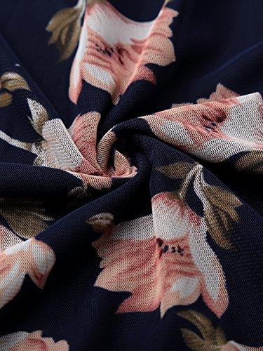 BAISHENGGT - Femme Blouse Plissé avant T-shirt à Manches longues Bleu fonce
