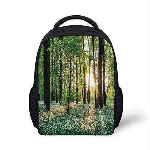 Kids School Backpack Farm House Decor Stylish,Sunny Forest with Wild Garlic Enchanting Wildflowers Blossoms Landscape Scene for School Travel,9.4