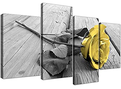 Yellow and Grey Canvas Wall Art of Rose Pictures for your Living Room- 4255 - Wallfillers® - low-cost UK light store.