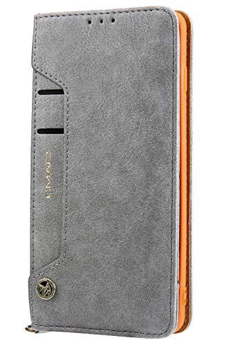 Handytasche Compatible with Samsung Galaxy S10 Plus +,Kunst Leder Case Handyhülle Flip Case mit Kredit Karten Hülle Geldklammer Unsichtbar Magnet und Stand Funktion Schutzhülle,Grau