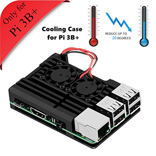 GeeekPi Armor Case, Aluminum alloy case Raspberry Pi 3 B + with fan cooling fan for Double Raspberry Pi 3 model B + (Only for Pi 3B +)