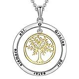 LOVORDS Collar Mujer Grabado Plata de Ley 925 Colgante Árbol de la Vida Familiar Círculo Regalo Madre Mamá Novia o Esposa