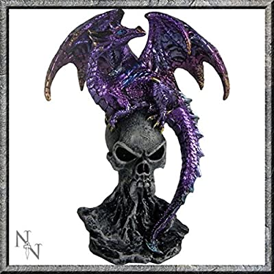 Purple Dragon Guarding Skull Figurine