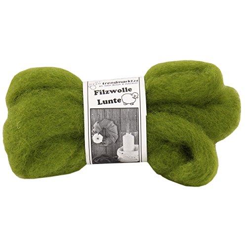 Filz-Wolle grün 2er Pack, Lunte-Set je 2m, 30 – 40 mm breit, ca. 60g ✓ 100% Schafschurwolle ✓ Nass-filzen & Trocken-filzen ✓ wasserfest lichtecht farbecht Bastel-Filz | trendmarkt24 – 7730121