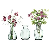 LSA International Mia Mini Vase Trio H11cm Recycled Part Optic x 3, Clear Decorated