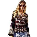 NPRADLA 2018 Mode Damen Sommer Boho Langarm Casual Bluse Lose Tops T Shirt