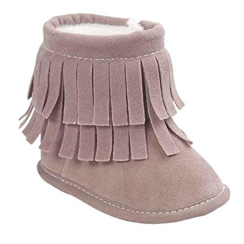 Chaussures,Malloom Bébé Garder Au Chaud Glands Double Pont Bottes De Neige En Cuir Souple Berceau Doux Bottes Chaussures Enfant (13, Gris) Gris