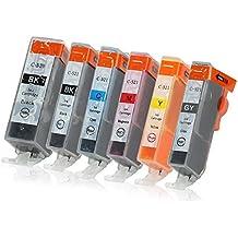 6 Druckerpatronen mit Chip und Füllstandsanzeige kompatibel zu Canon PGI-520 / CLI-521 (1x Schwarz, 1x Photoschwarz, 1x Cyan, 1x Magenta, 1x Gelb, 1x Grau) passend für Canon Pixma MP-980 MP-990