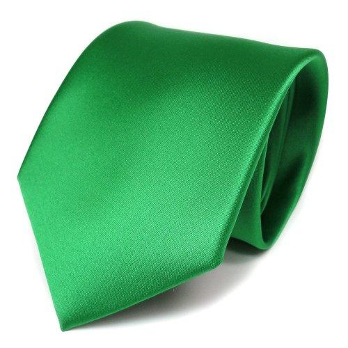 TigerTie Designer Satin Krawatte grün leuchtgrün uni - Binder 100% Polyester