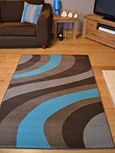 Trend Brown And Teal Blue Wave Rug. 8 Sizes Available (60cm x 110cm)