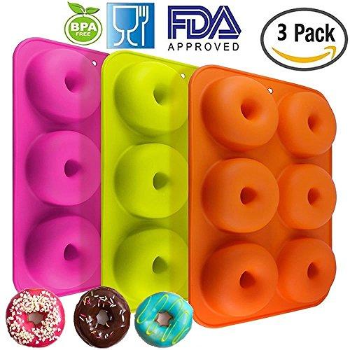 3PACK Silikon Donut Formen, 6Mulden Antihaft-Backblech Maker Pfanne Hitze Widerstand für Kuchen Biscuit Bagels muffins-orange, Rose Rot, Grün