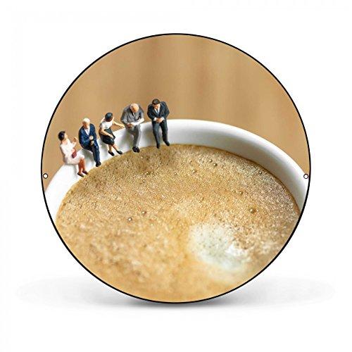 Design Magnettafel von banjado | Pinnwand magnetisch 47cm Ø | Memoboard mit Motiv Kaffeepause | Magnetwand schwarz aus Metall rund -