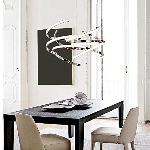 Modern Elegant 55W LED Pendelleuchte Kreativ Runden Bilden Entwurf Hängelampe für Schlafzimmer Wohnzimmer Küche Insel Esszimmer Studie Büro Bar Loft Kronleuchter, Fernbedienung Dimmbar LED,Chrom …
