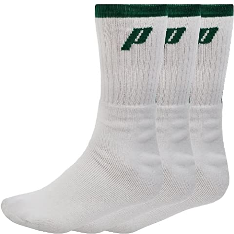 3 Pair Pack of Prince Mens Crew Sport Socks - White/Green - 10-14UK
