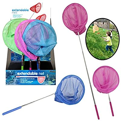 Kids Extendable Fishing Net Butterfy Bug Insect Net Telescopic Handle Garden Toy - Ideal present choice of colours