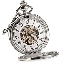 Reloj de Bolsillo Mecánico de Superficie Lisa Clásico con Cadena Regalo de Navidad Cumpleaños Boda Día