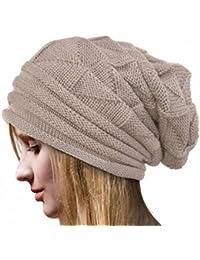 IMJONO Mujeres Crochet Invierno Gorro Punto Caliente Cozy Grande Sombrero Moda DiseñO De Lana Tejer Beanie