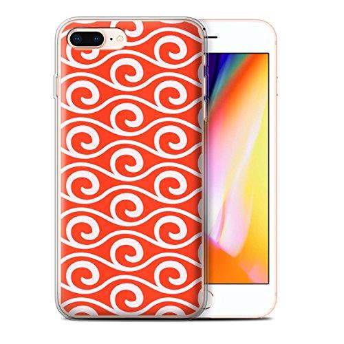 Stuff4 Gel TPU Hülle / Case für Apple iPhone 8 Plus / Blau Muster / Wellenmuster Kollektion Rot