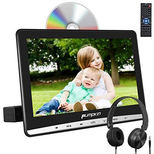Pumpkin 12' Reproductor DVD para Coche, 1366x768 HD Pantalla con Botón Táctil Reproductor para Reposacabezas, con Auriculares con Cable, soporta Tarjeta SD/USB/AV-IN/out/CD/DVD Región Libre