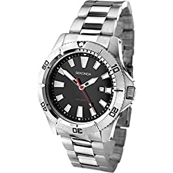 Sekonda Men's Quartz Watch with Black Dial Analogue Display and Silver Stainless Steel Bracelet 1007.27