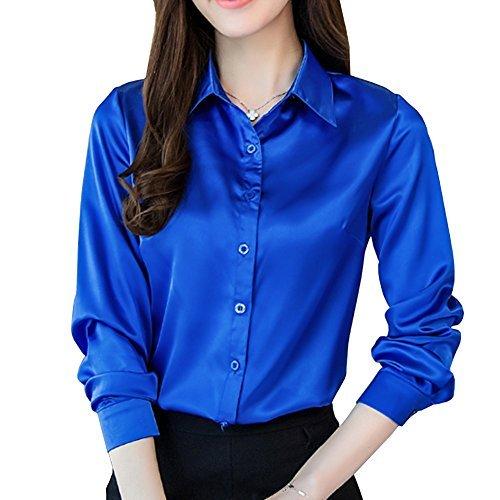 Button-down-bluse Aus Seide (YOUMU Frauen Satin Seide Langarm Button-Down-Hemd Formal Arbeits Bluse Top)