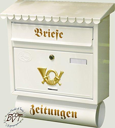 Großer Briefkasten, verzinkt mit Rostschutz Flachdach F/w weiß schneeweiß snow white mit Katalogeinwurf und Zeitungsrolle
