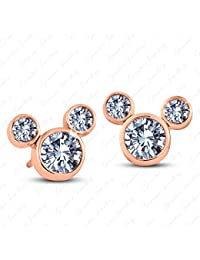 Gemstar Jewellery Heart Cut Aquamarine 14K Rose Gold Finishing Engagement Solitaire Stud Earrings