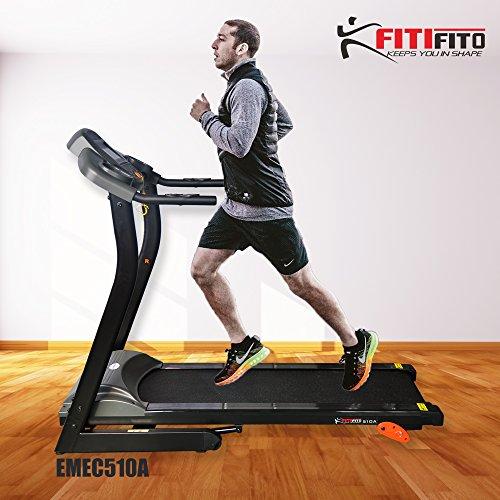 Angebot! Fitifito 510A Laufband 3PS 12km/h mit LCD Bildschirm, 6 Zonen Dämpfungssystem, 25 Trainingsprogrammen - Klappbar, Schwarz